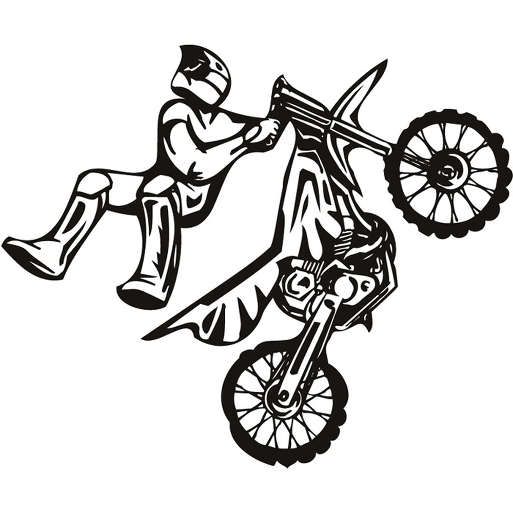Stunt Bike Motocross Motorbike Wall Stickers Kids Decor Art Decals