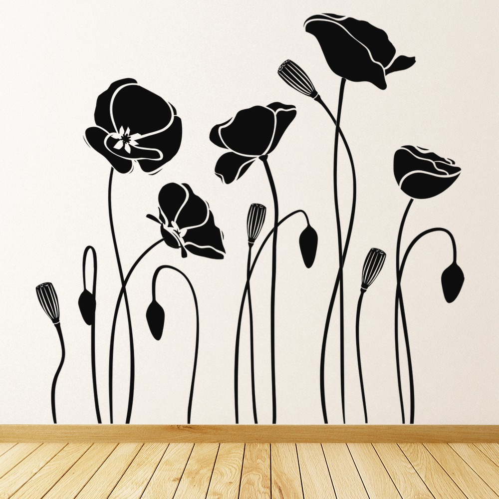 Poppy Flowers Wall Sticker Floral Wall Decal Living Room Kitchen