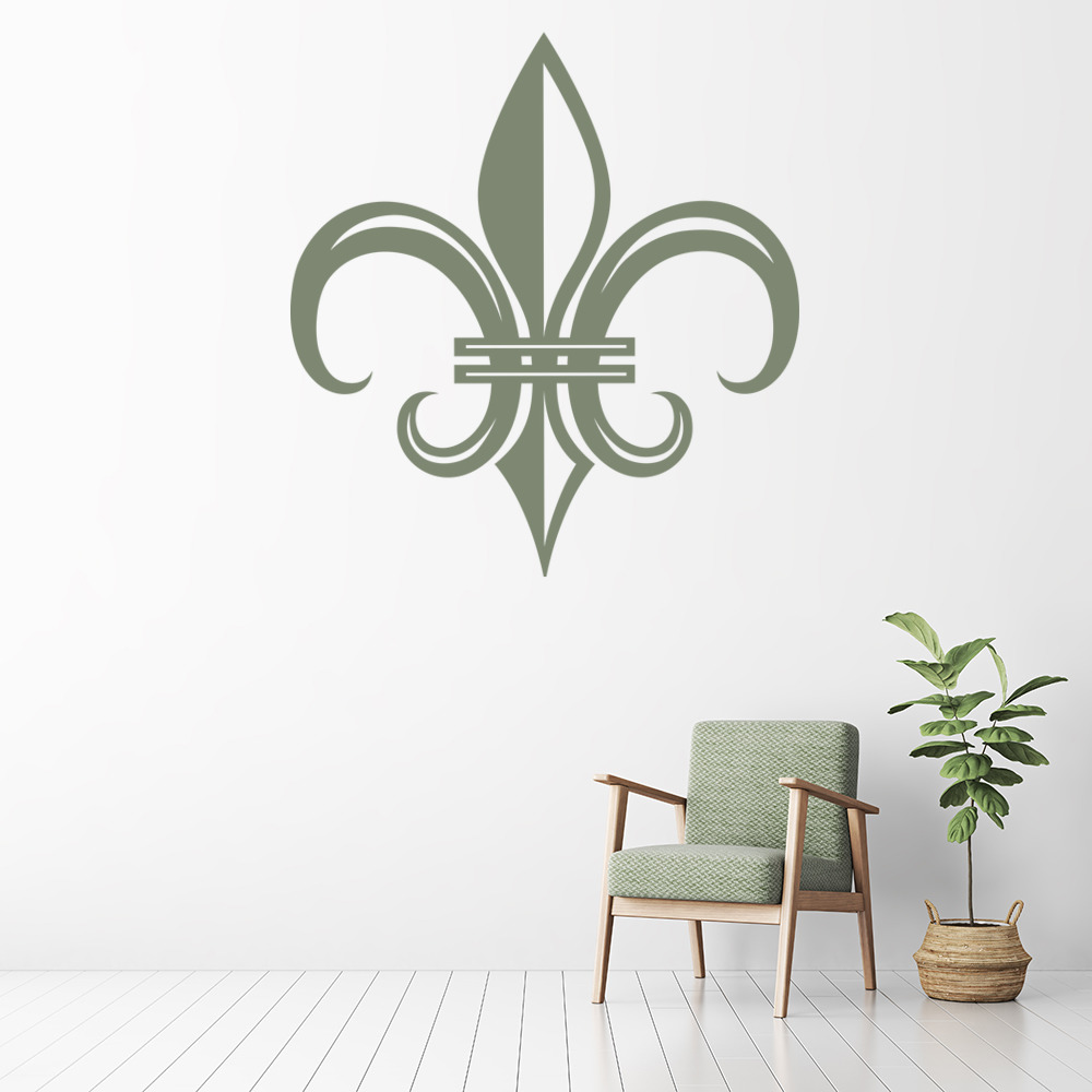 Fleur De Lis Wall Sticker Foral Tile Wall Decal Kitchen Home Decor
