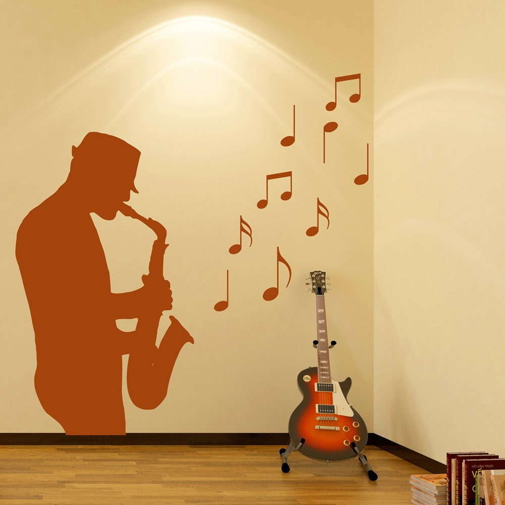 Saxophone Player Wall Sticker Jazz Music Wall Decal Bar Club Home ...