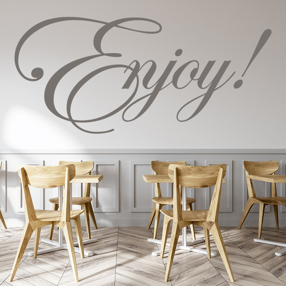 Enjoy! Wall Sticker Kitchen Quotes Wall Decal Food Drink Cafe Home ...