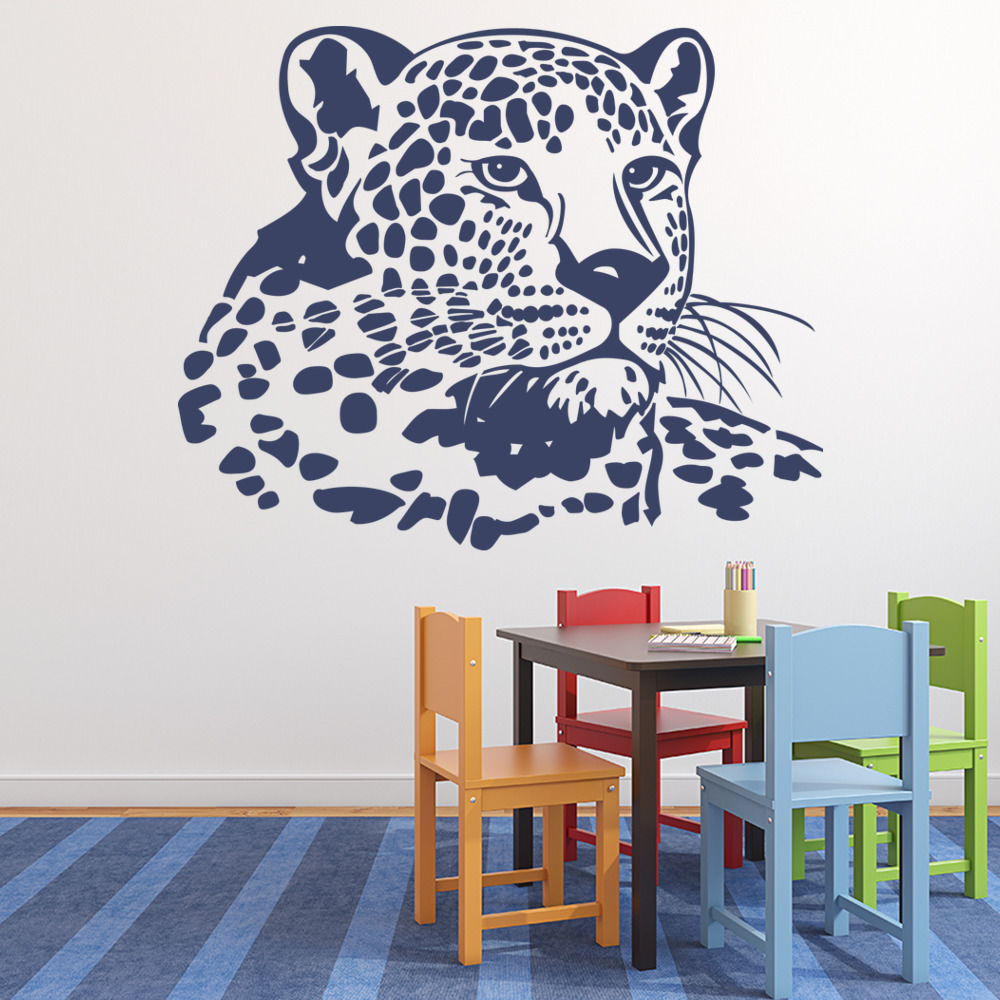 lighting designs for bedrooms leopard portrait amp vines animals wall stickers 15872