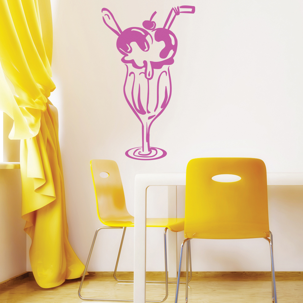 Ice Cream Wall Sticker Food Dessert Wall Decal Kitchen Cafe Home ...