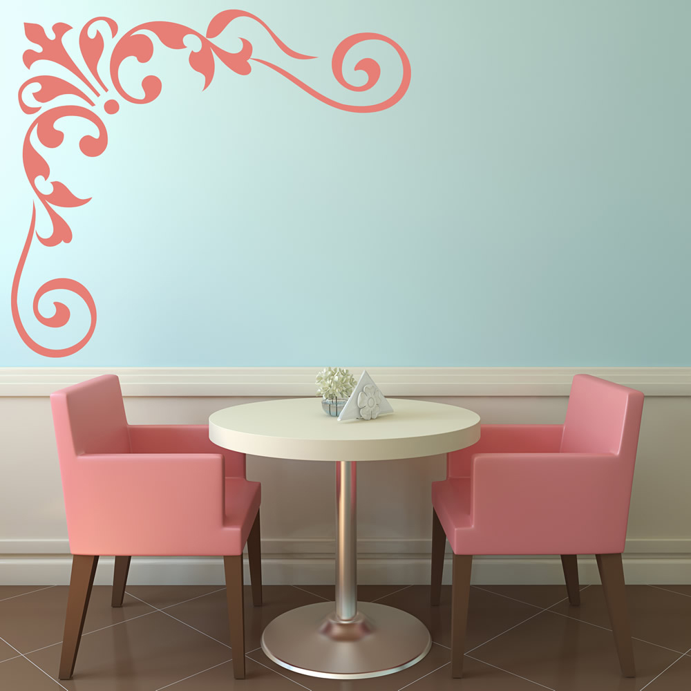 Floral Corner Wall Sticker Swirl Wall Decal Living Room Kitchen Home ...