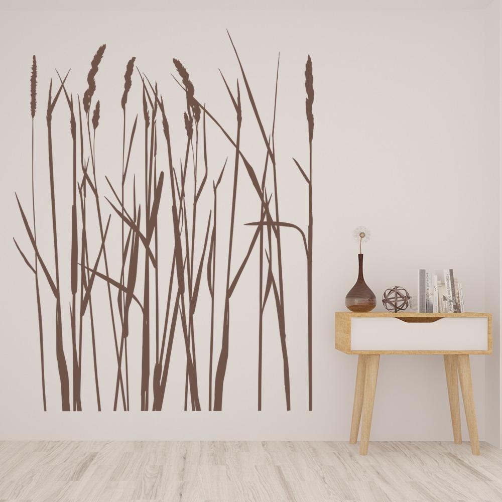 Long Grass Flowers Trees Wall Sticker WS-16229