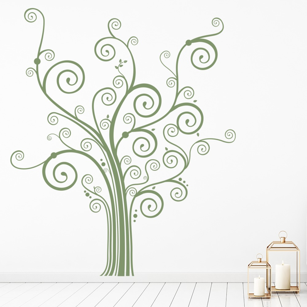 Swirl Tree Wall Sticker Nursery Wall Decal Girls Bedroom Home Decor ...