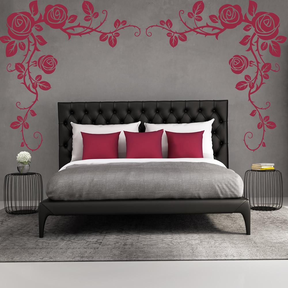 Rose Wall Sticker Flower Headboard Wall Decal Girls Bedroom Home