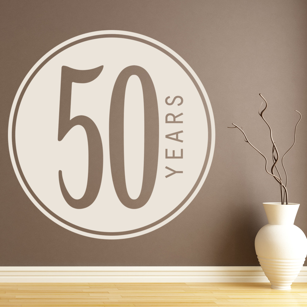 50th Birthday Badge Wall Sticker Novelty Party Wall Decal