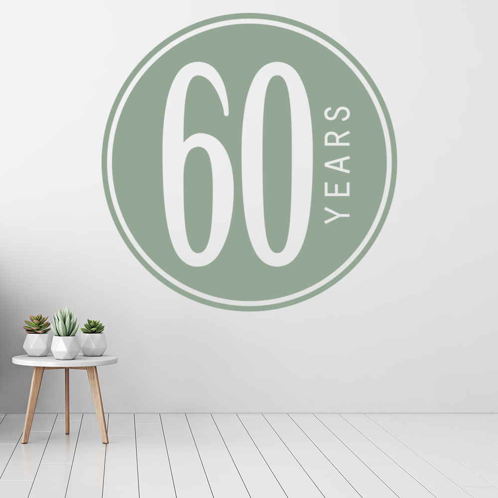 60th Birthday Badge Wall Sticker Novelty Party Wall Decal ...