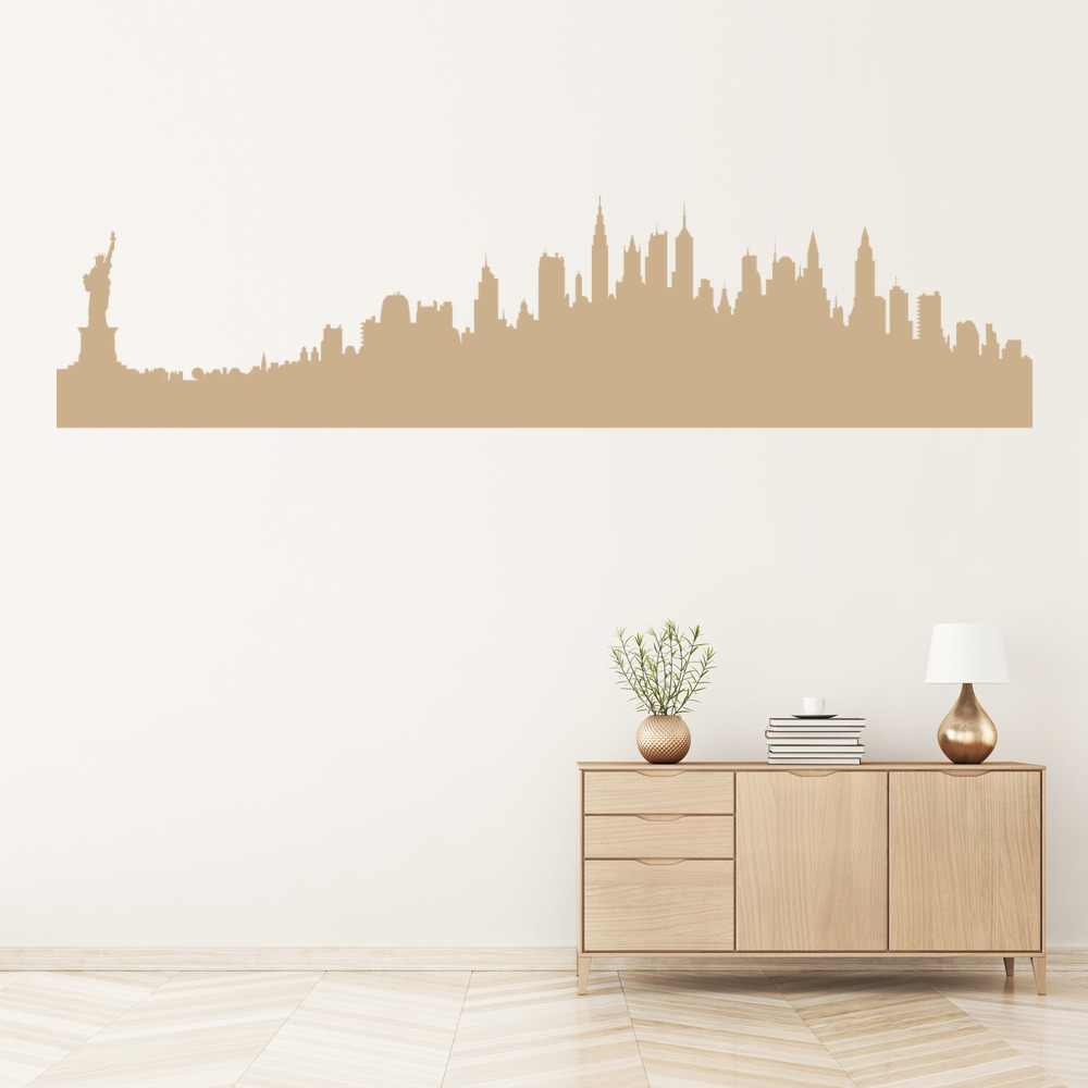 New york usa wall sticker city skyline wall decal living for Home decor online shopping usa