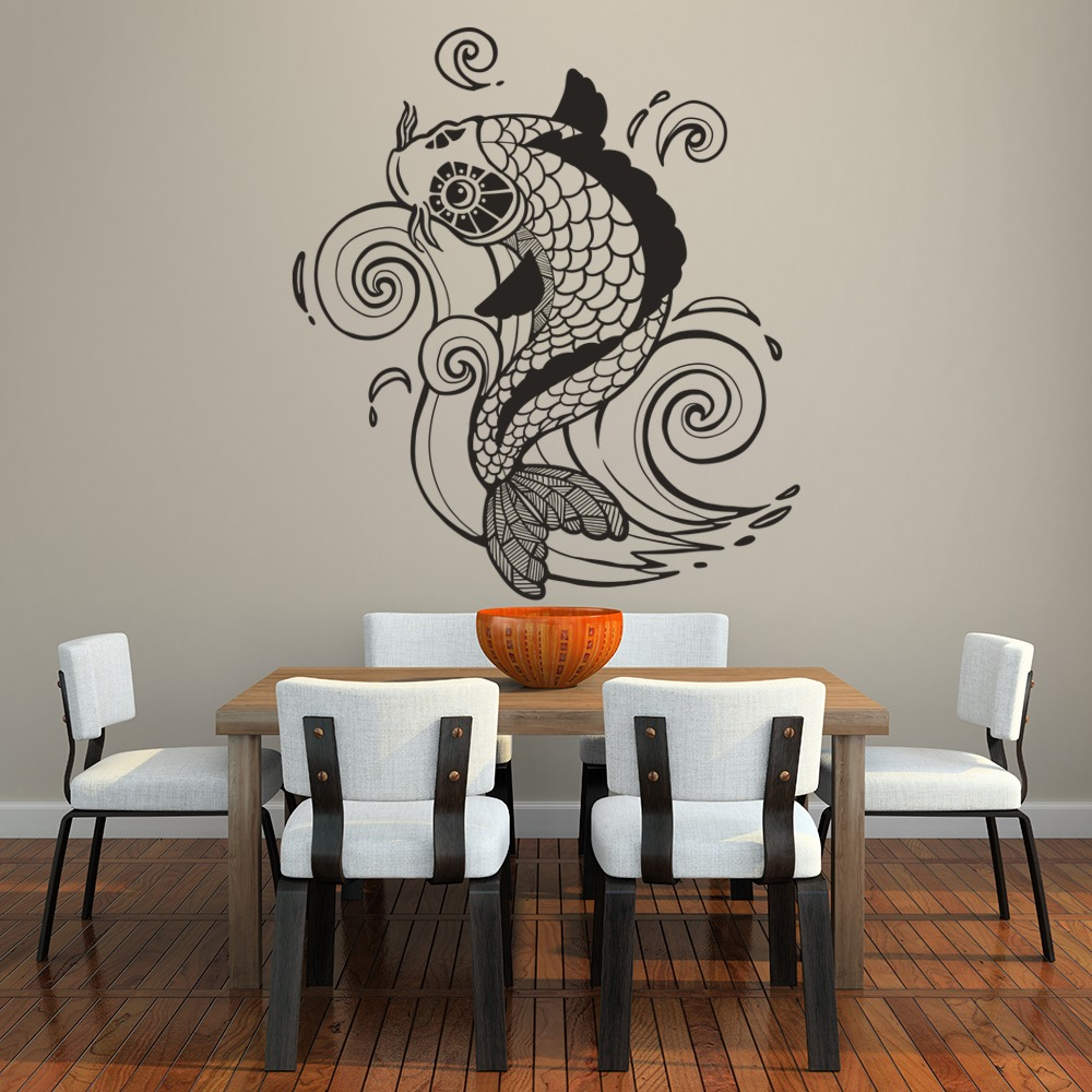 Koi Carp Decorative Fish Under The Sea Wall Stickers Bathroom Decor Art  Decals Part 49