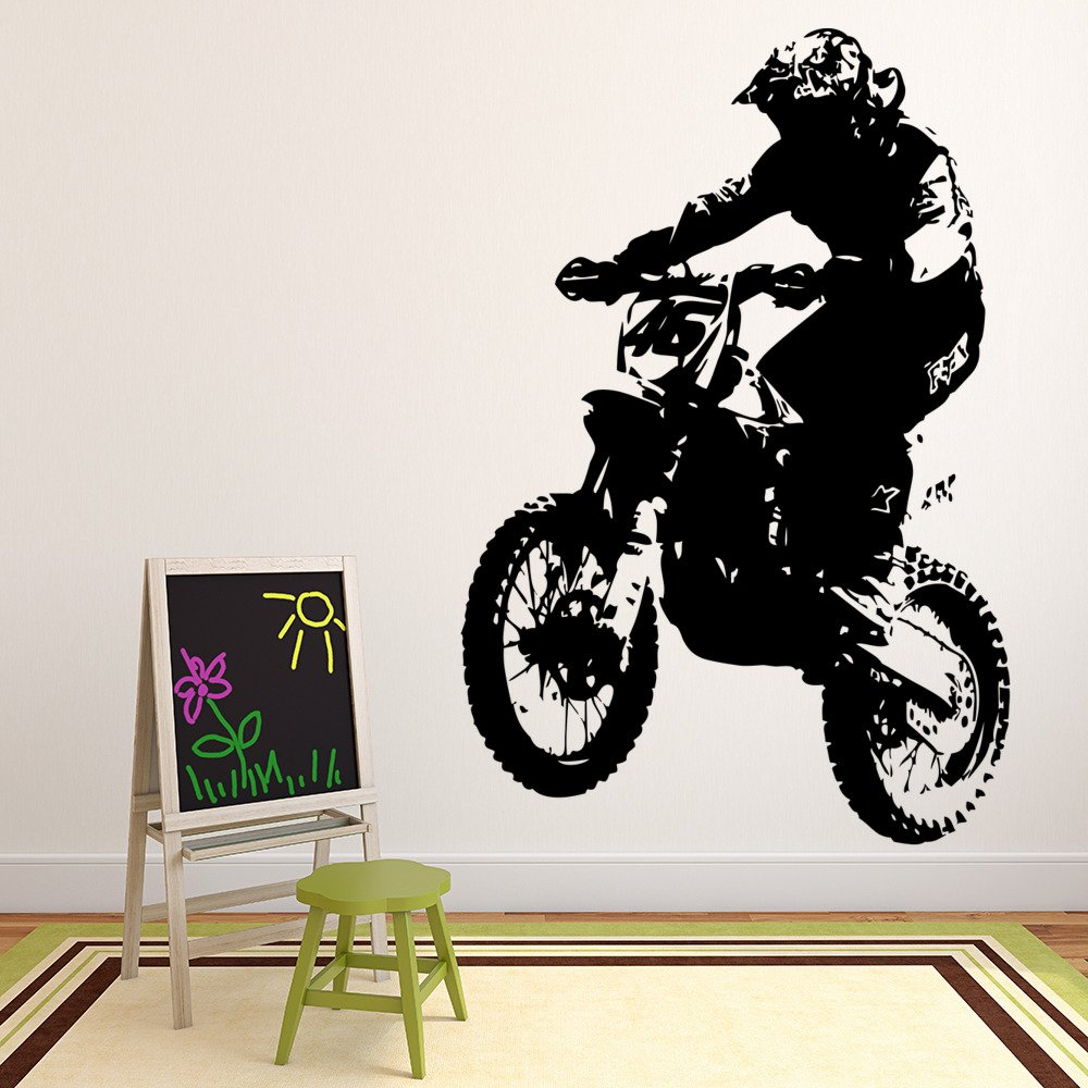 Dirt Bike Rider Wall Sticker Motorbike Wall Decal Boys Bedroom Home
