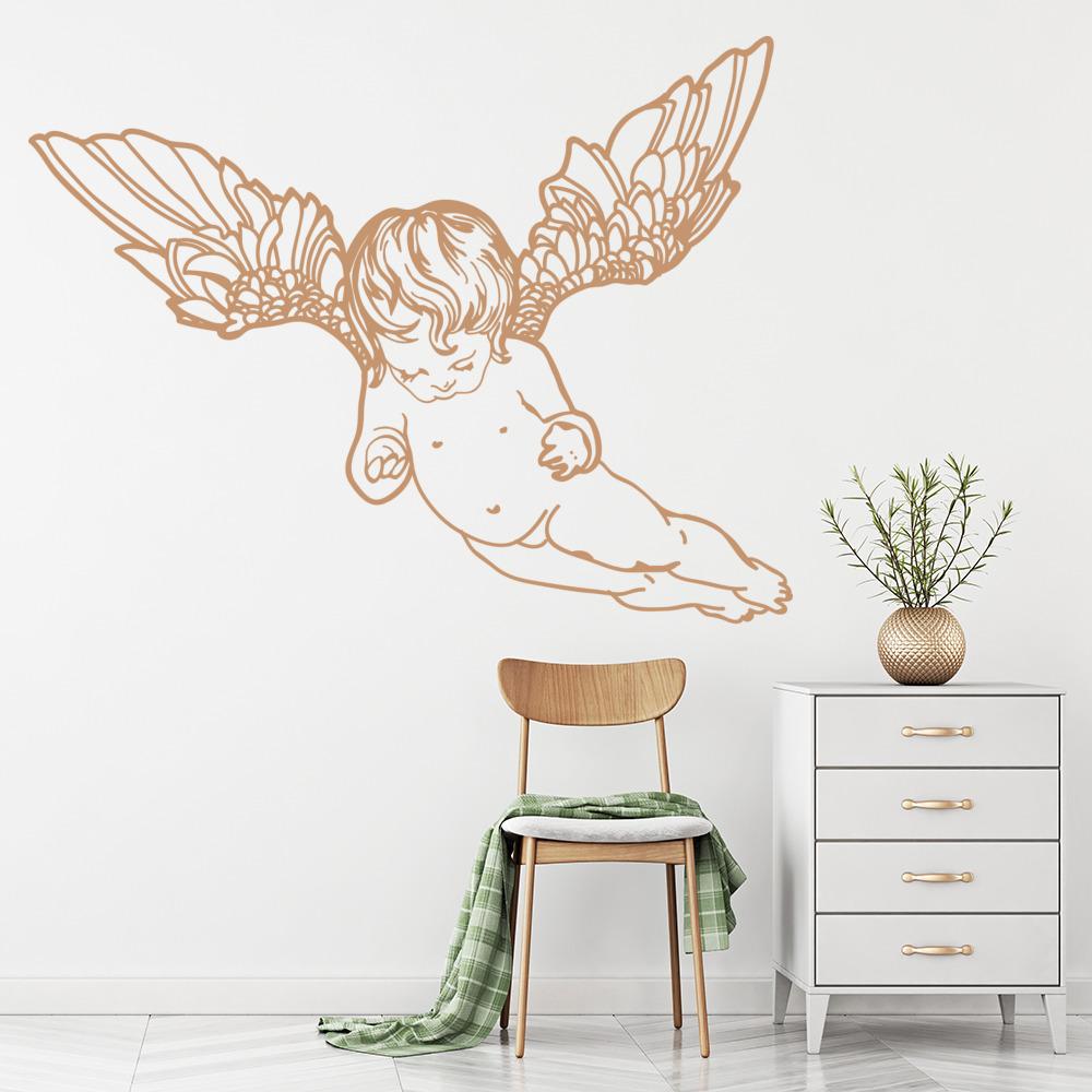 Wall Room Decor Art Vinyl Sticker Mural Decal Tribal Wings Angel Cherub FI559