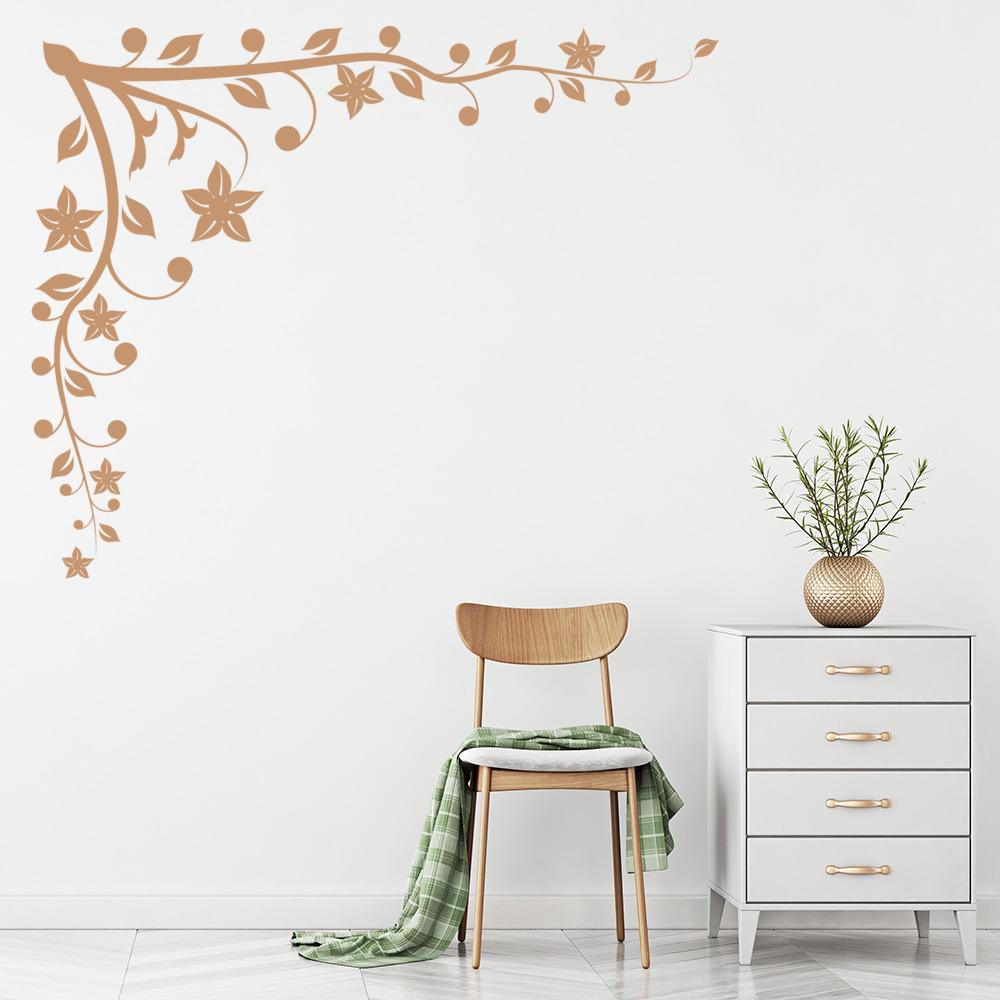 Esquina vinilos decorativo hojas de flores adhesivos for Adhesivos pared dormitorio