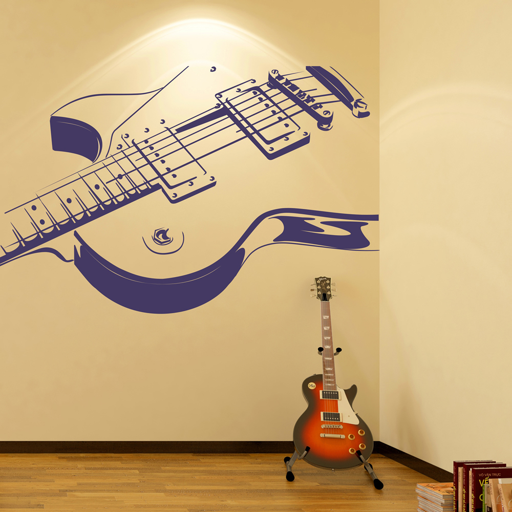 Electric Guitar Print Musical Notes U0026 Instruments Wall Stickers Music Art  Decals Part 41