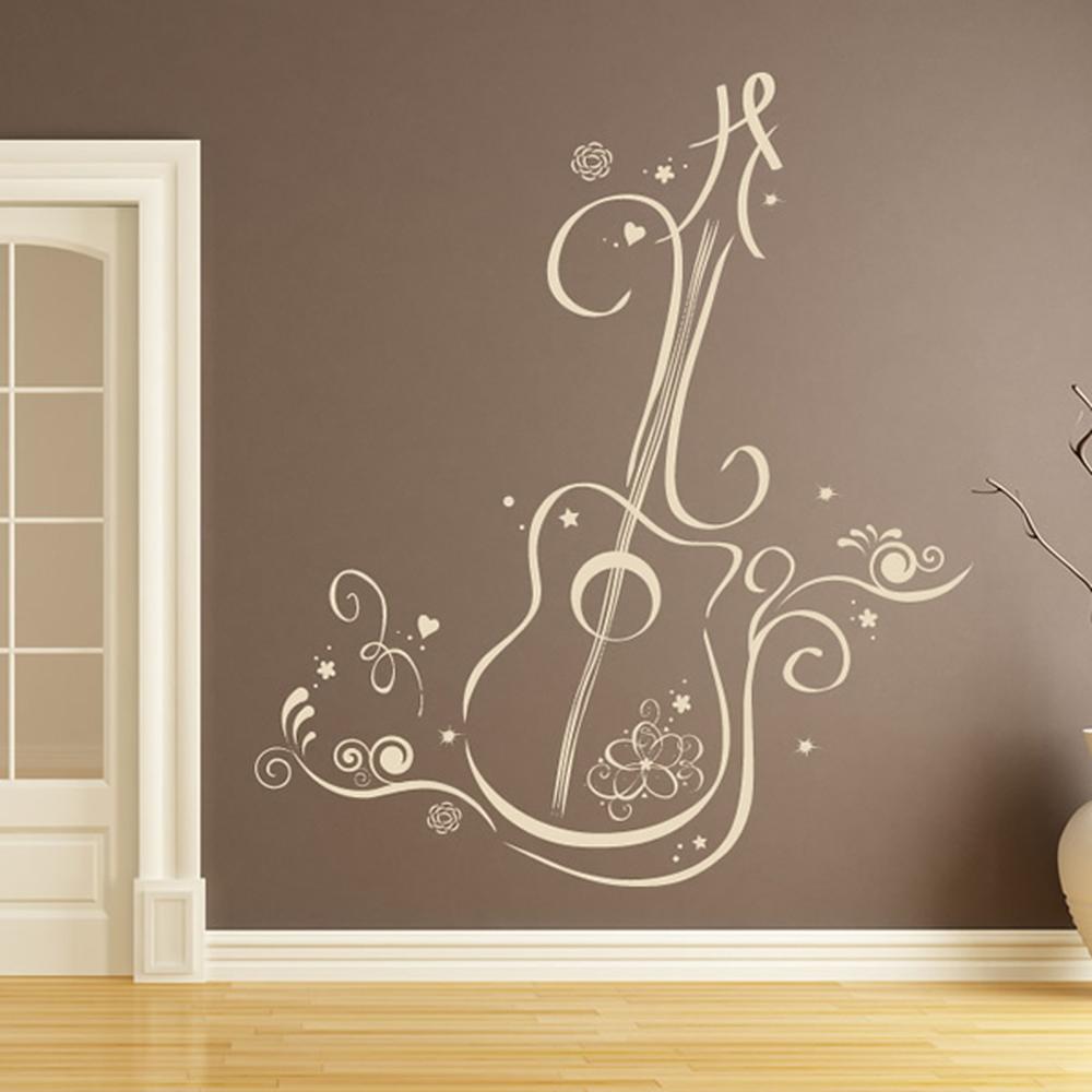 Guitarra floral con remolinos notas musicales e for Vinilos decorativos sobre musica