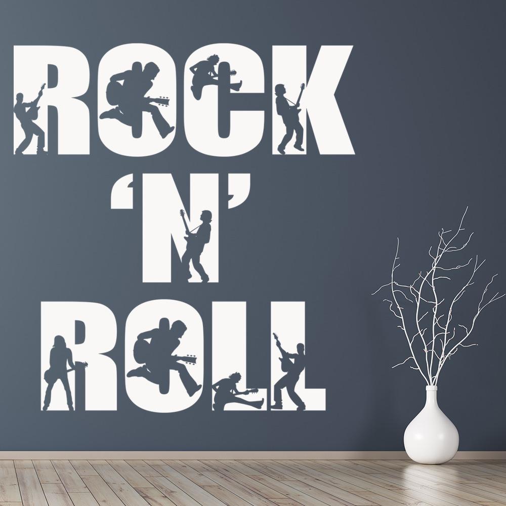 Rock N Roll Muursticker Band muziek Muurtattoo Slaapkamer Huis ...