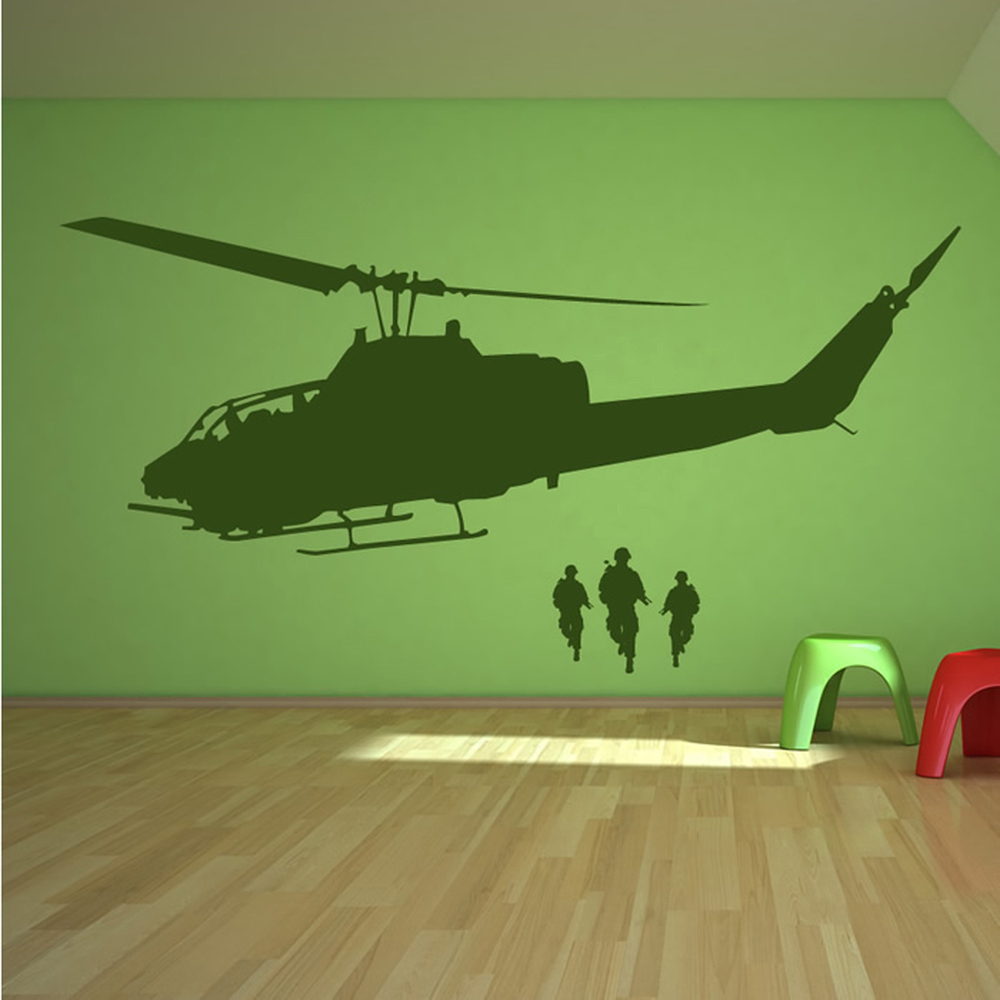 Army Helicopter Wall Sticker Soldiers Wall Decal Boys Bedroom Home ...