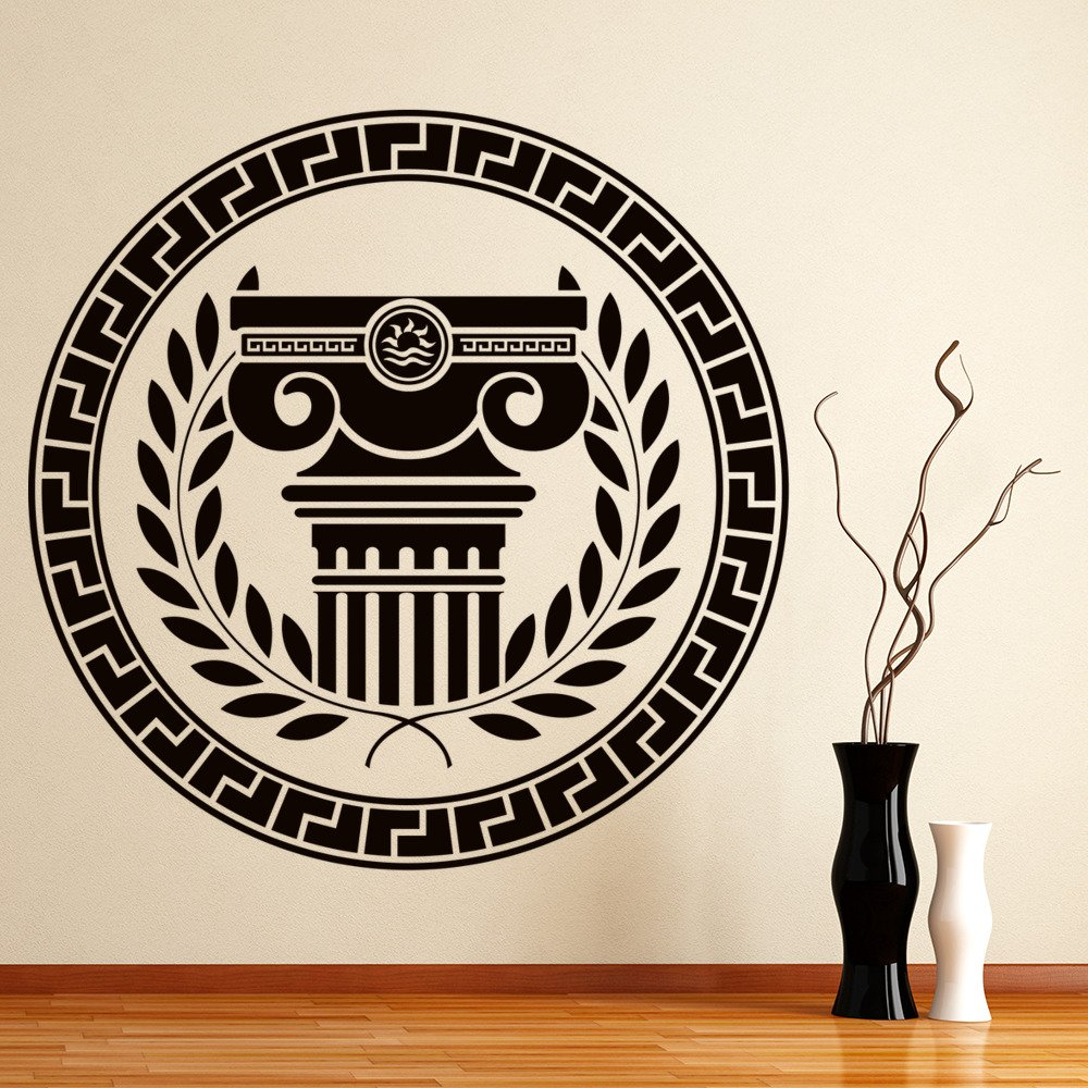 Greek Badge Wall Sticker Column Laurel Wreath Wall Decal Greece Home ...