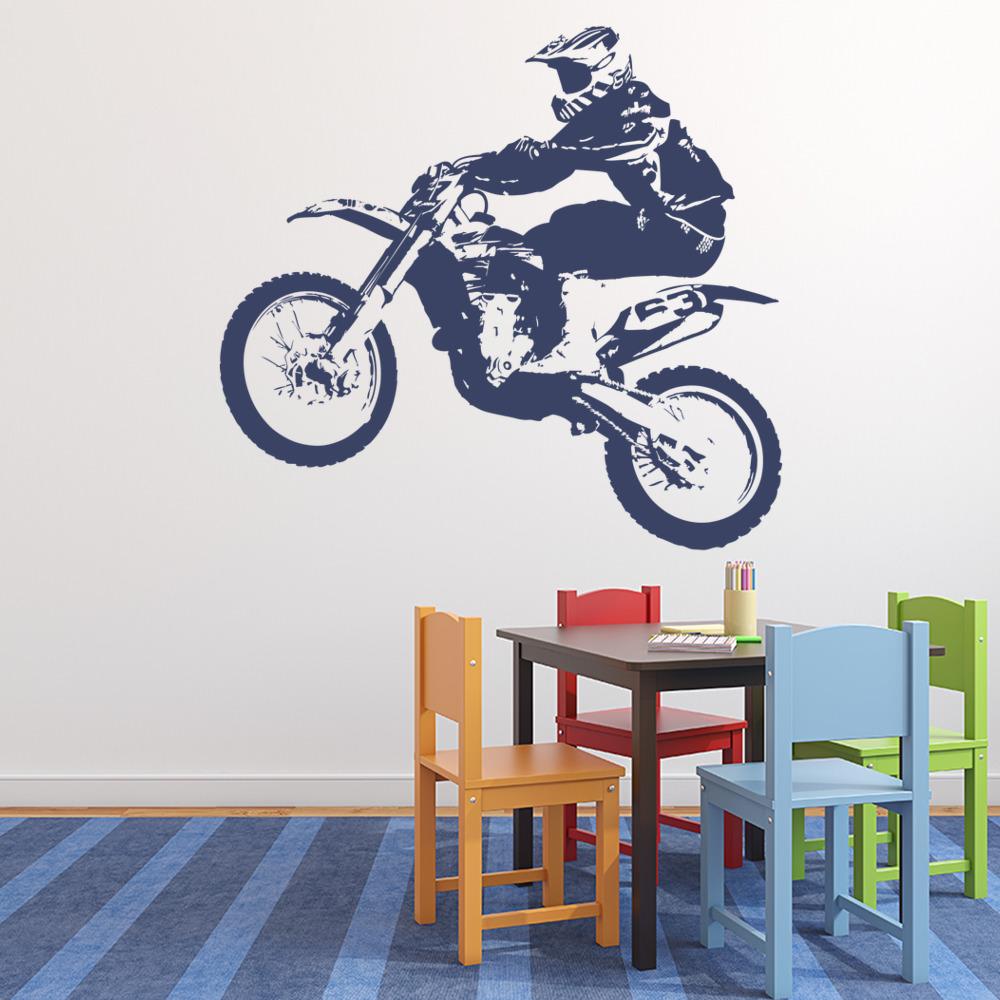Dirt Bike Jumping Motor Sport Motorbike Wall Sticker Motor Sport Decor Art  Decal Part 51