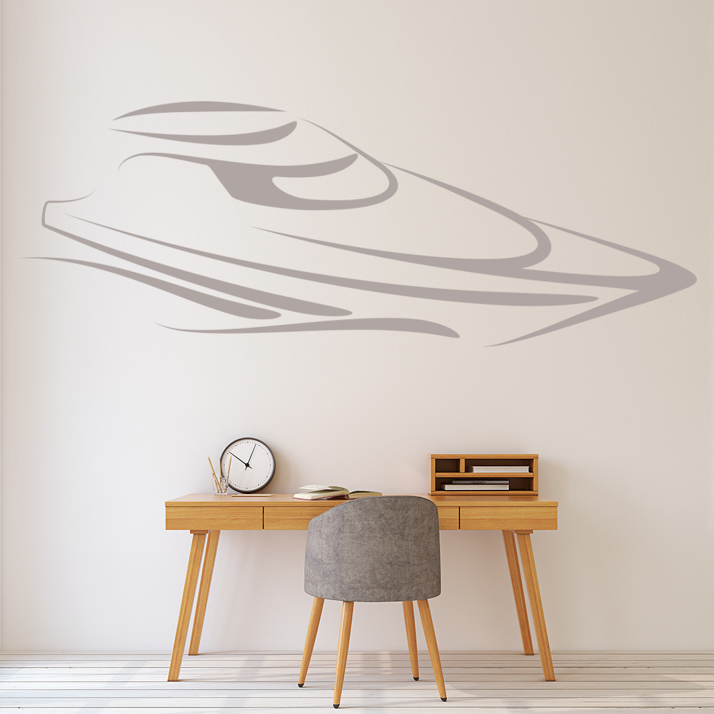 Speed boat outline print boats wall stickers bathroom home for Decor outline