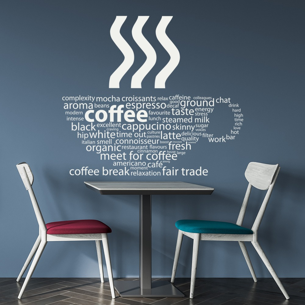 Coffee Cup Wall Sticker Cafe Quote Wall Decal Kitchen Food Drink ...