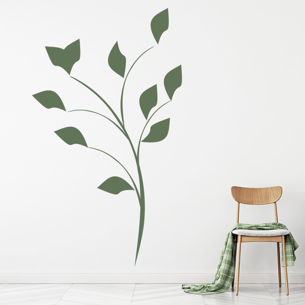 Simple Floral Wall Sticker Flower Leaves Wall Decal Living Room ...