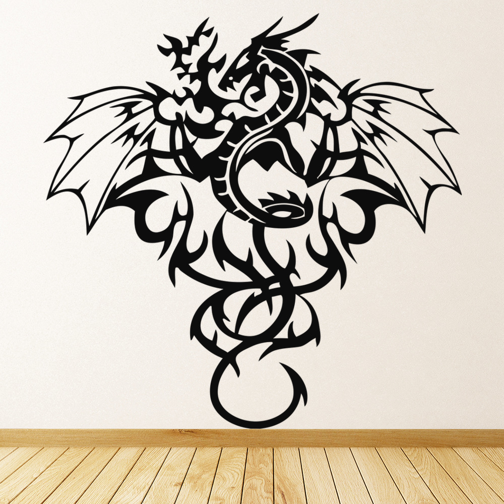 Tribal Dragon Wall Sticker Winged Monster Wall Decal Boys Bedroom ...