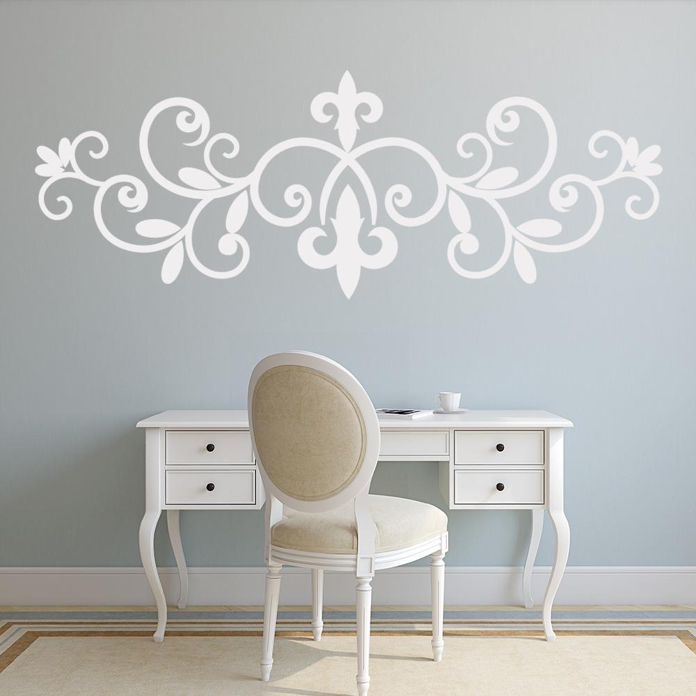 Fleur De Lis Wall Sticker Floral Headboard Wall Decal Master Bedroom