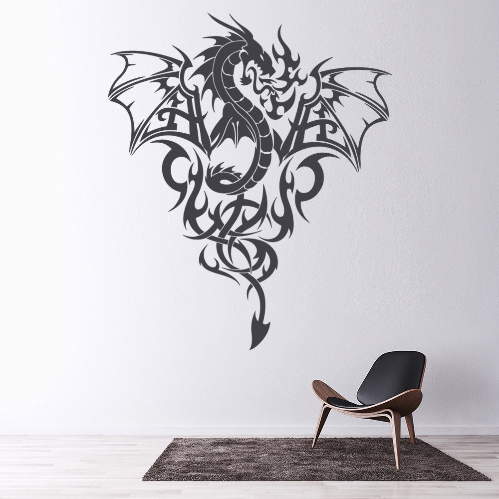 Fire Dragon Wall Sticker Tribal Monster Wall Decal Boys Bedroom Home Decor