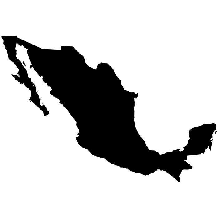 Mexico Silhouette Map Country Rest of the World Wall ...