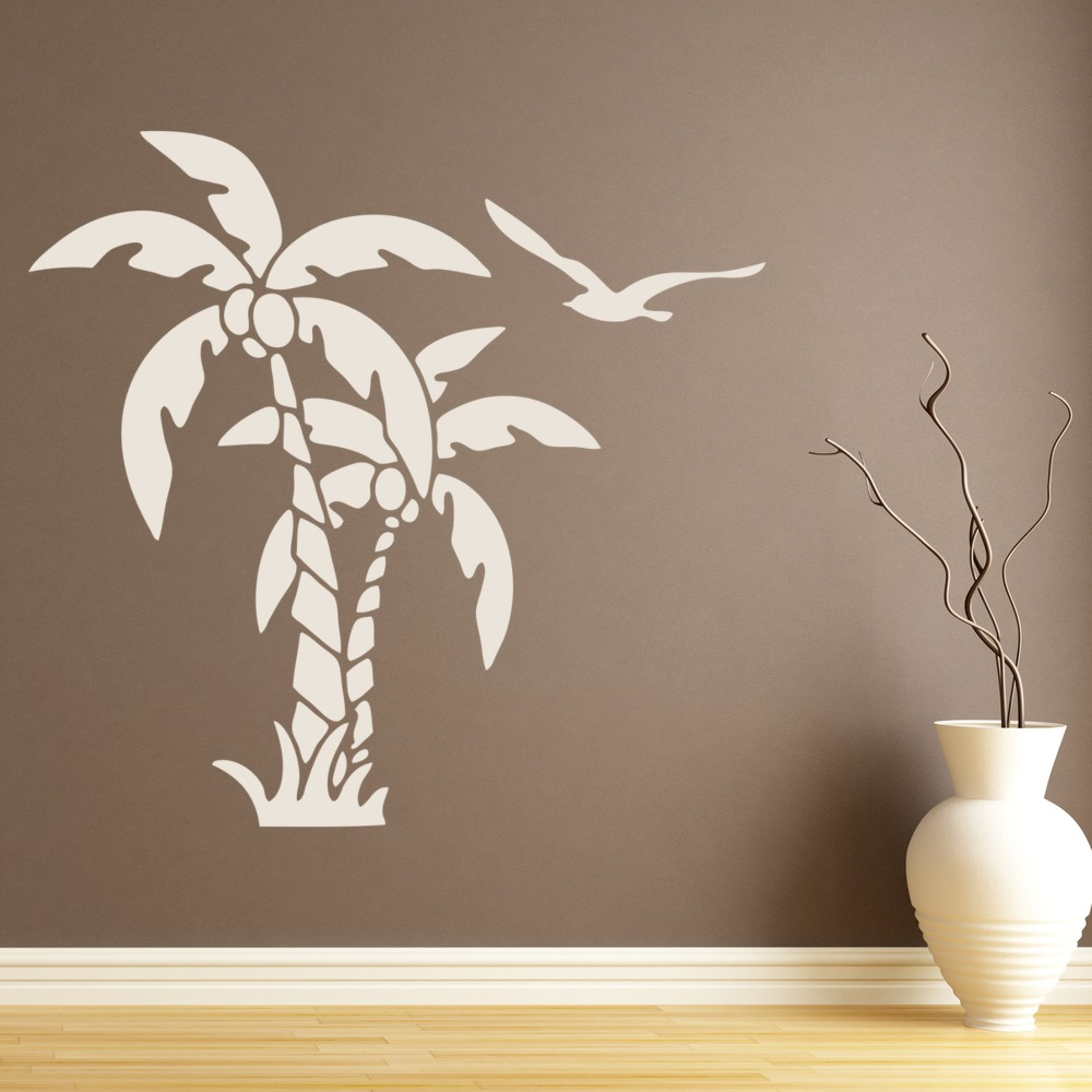 Palm Trees And Coconuts Tropical Flowers And Trees Wall Stickers Home Art  Decals Part 78