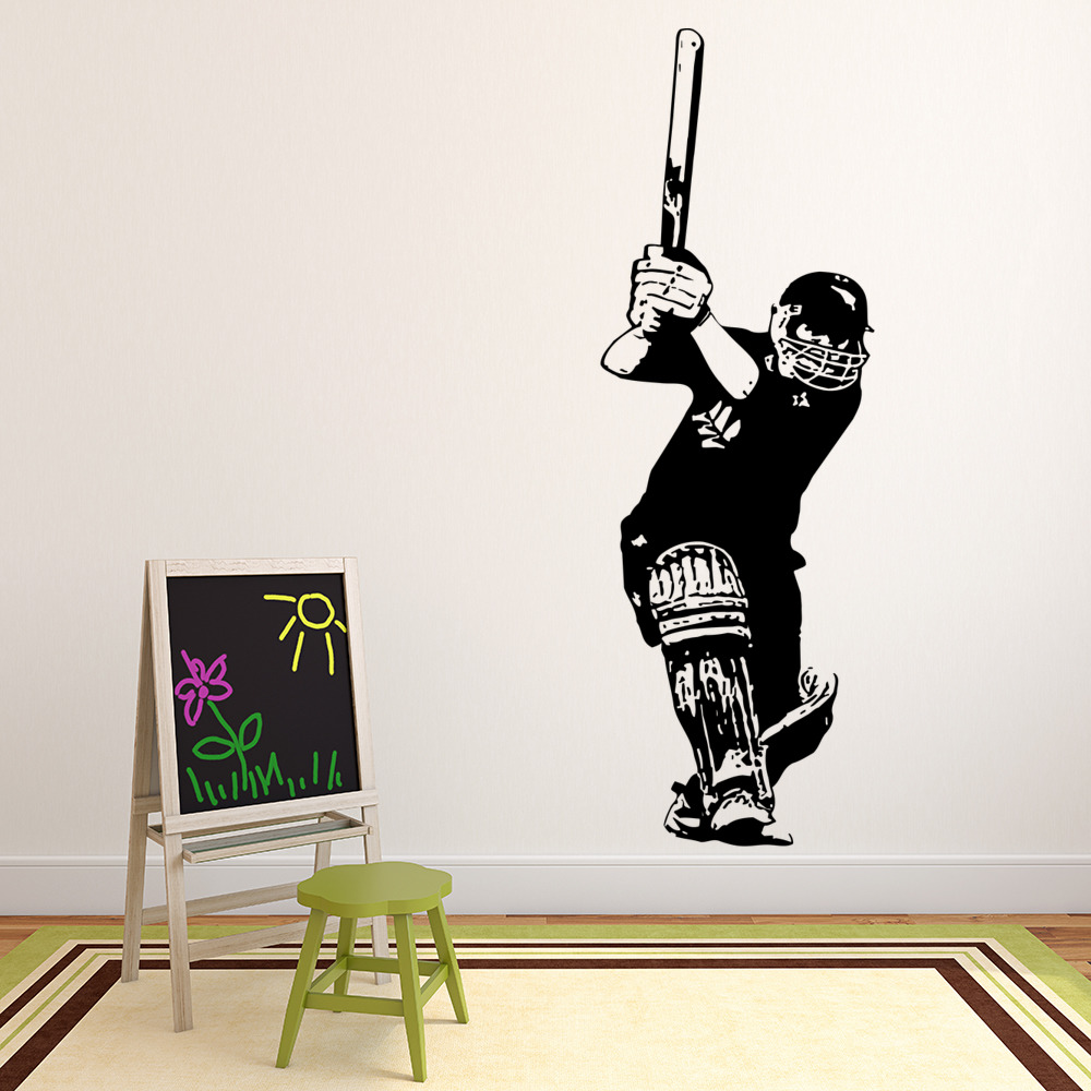 Cricket batsman wall sticker sports wall decal boys bedroom home cricket batsman wall sticker sports wall decal boys bedroom home decor amipublicfo Image collections