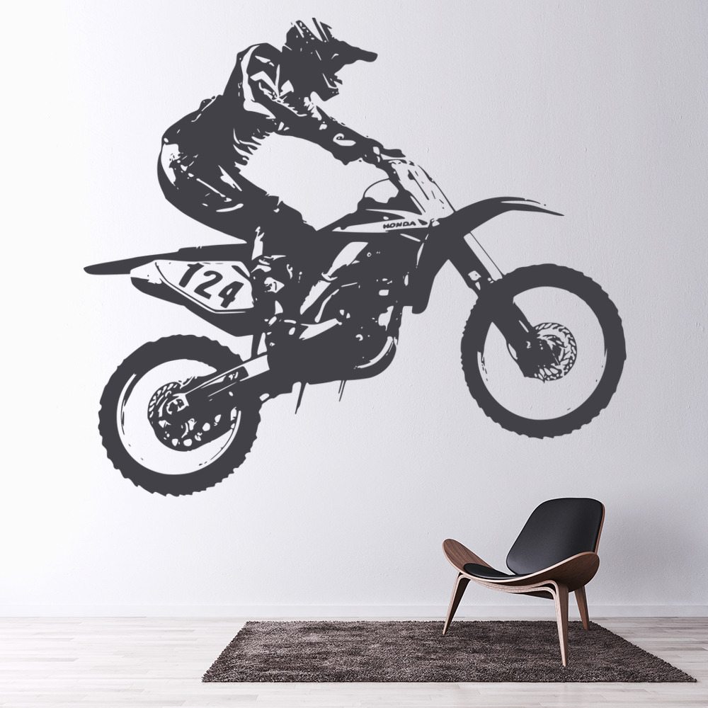 Charming Honda Dirt Bike Motocross Bike Motorbike Wall Stickers Motor Sport Art  Decals Part 16