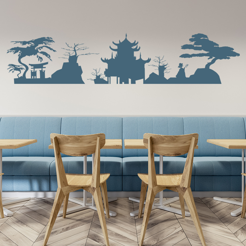 japanese skyline wall sticker japan wall decal living room bedroom
