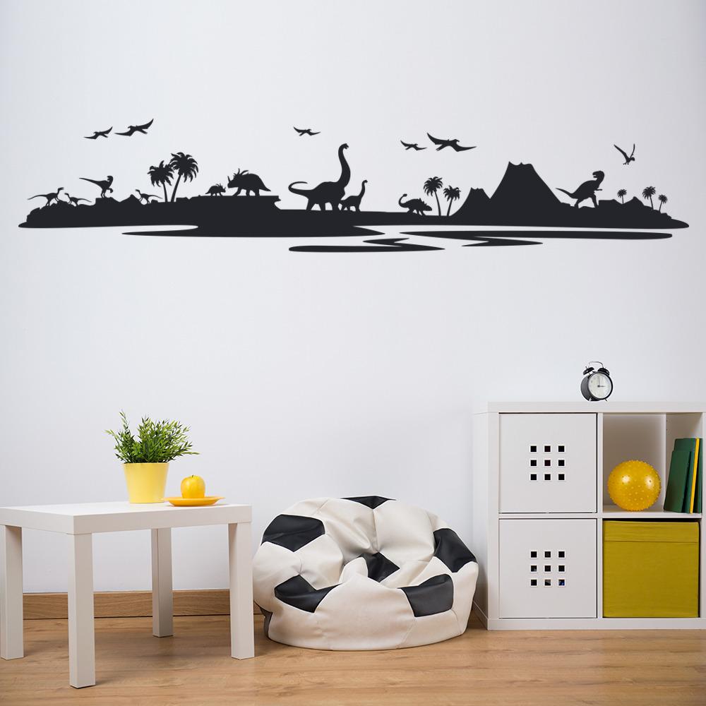 dinosaur landscape wall sticker jurassic park wall decal kids bedroom home decor ebay. Black Bedroom Furniture Sets. Home Design Ideas
