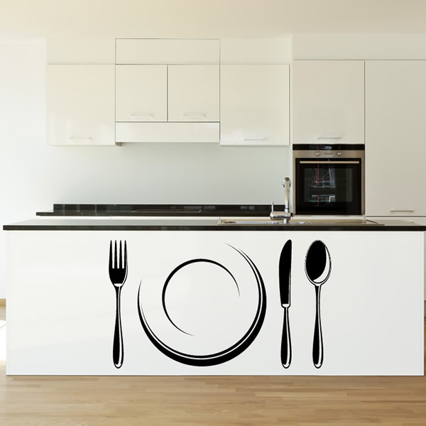 Plate Cutlery Decorative Wall Art Stickers Decal