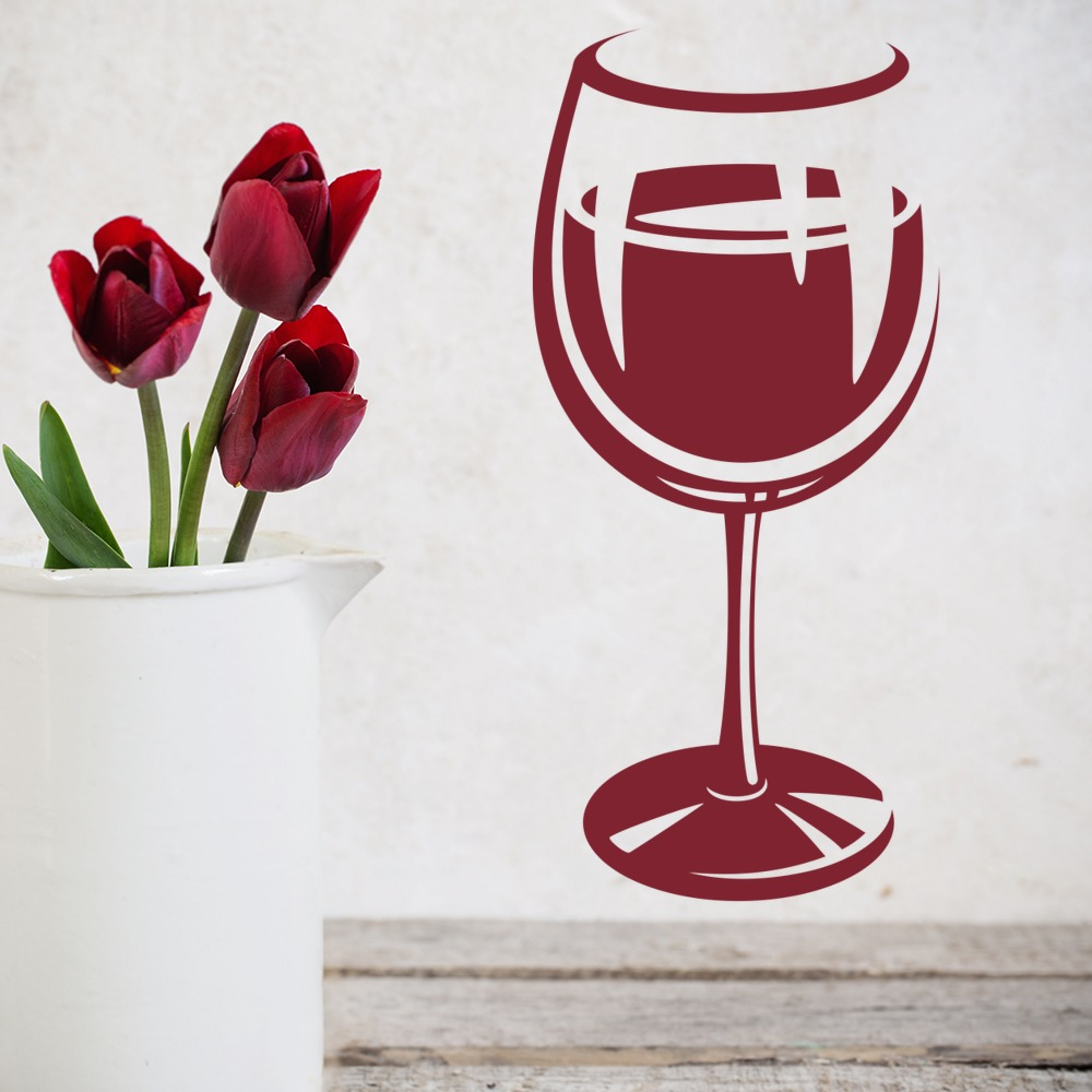 Wine Glass Wall Sticker Food Drink Wall Decal Kitchen Cafe ...