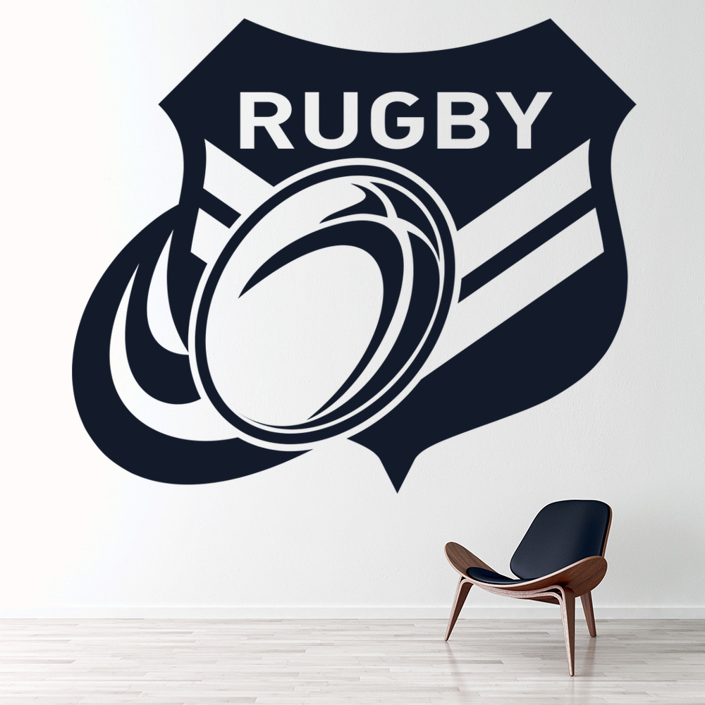 rugby badge wall sticker rugby ball wall decal boys sports