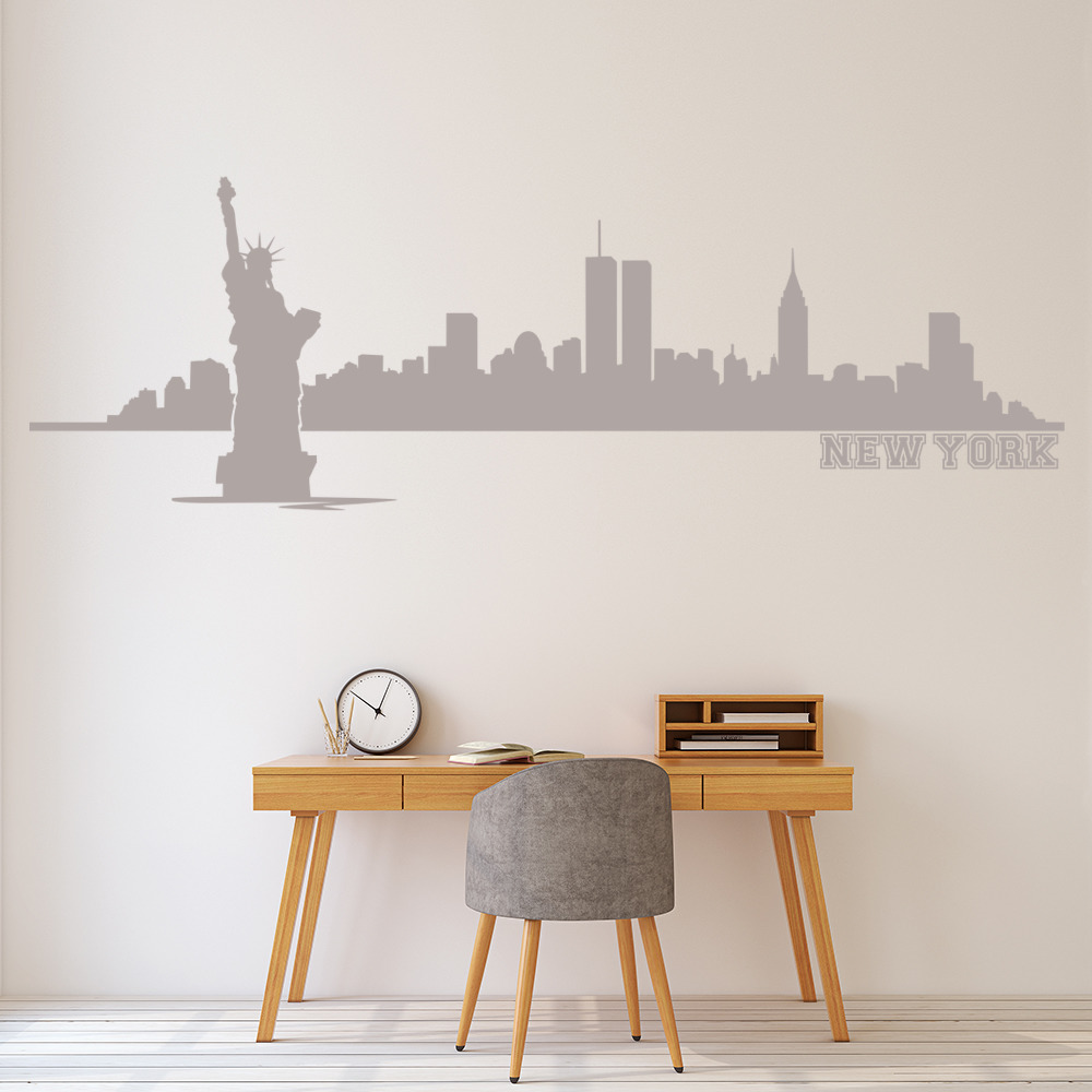 New York Wall Sticker City Skyline Wall Decal Living Room Bedroom ...