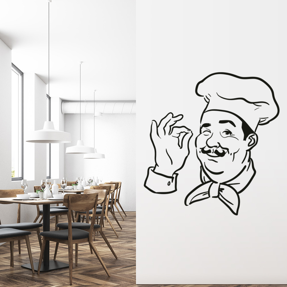 Chef Wall Sticker Restaurant Wall Decal Kitchen Cafe Home Decor
