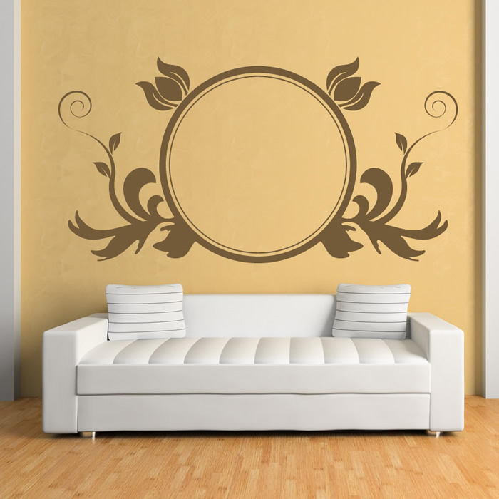Leaf Embellished Circular Frame Floral Design Wall Sticker Home ...
