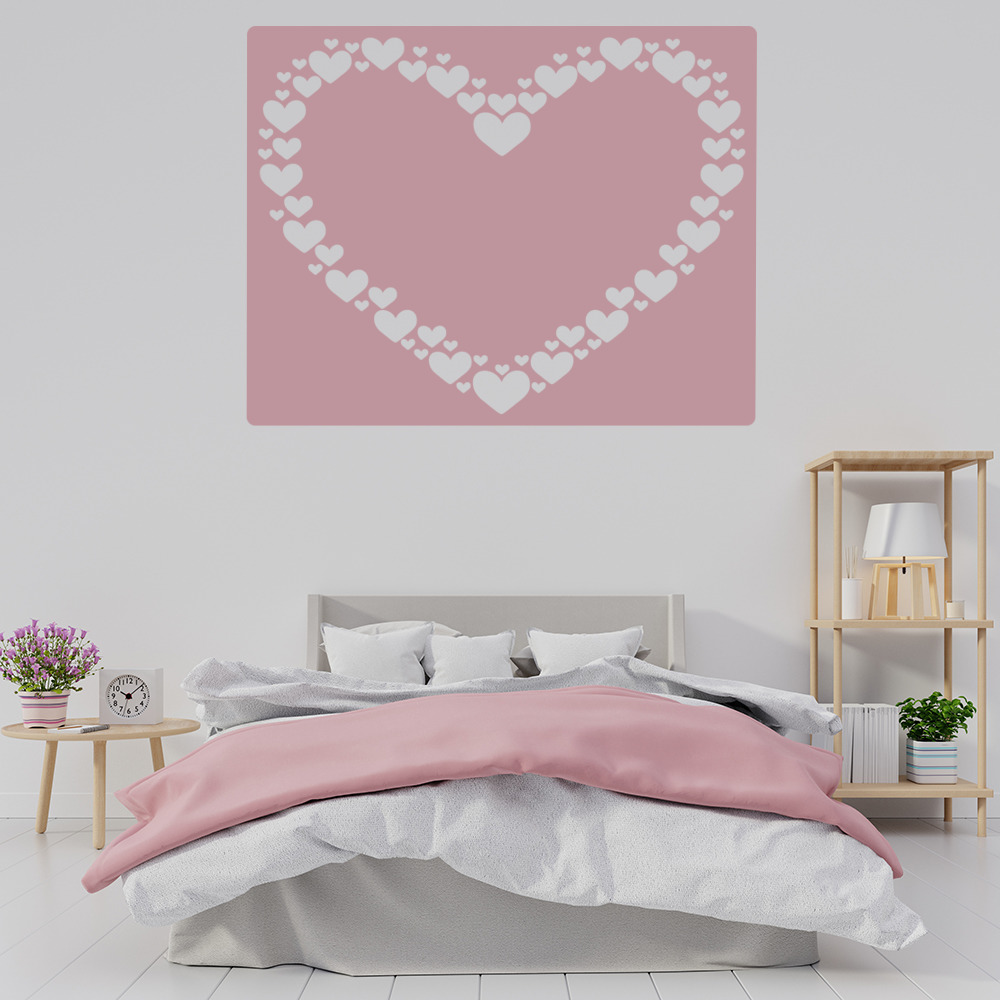 Heart Border Wall Sticker Square Love Heart Wall Decal Girls Room Home Decor