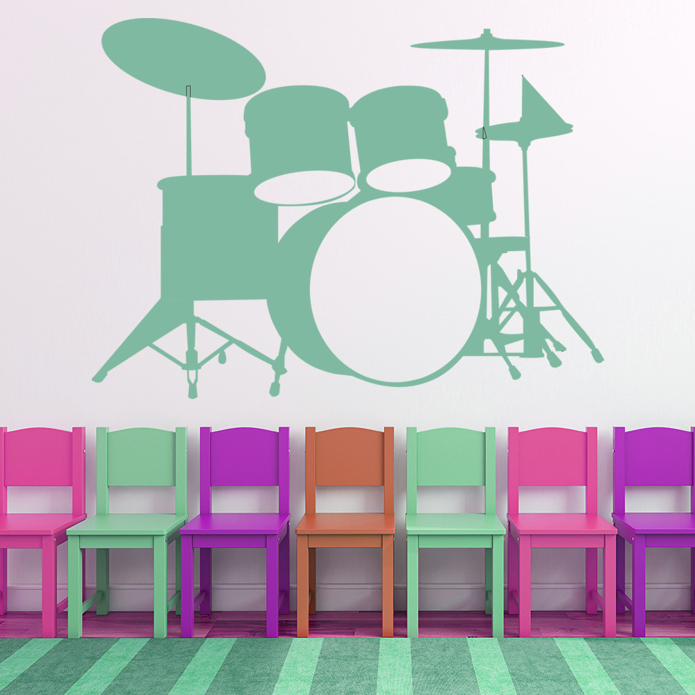 Drum Wall Sticker Musical Instruments Wall Decal Bedroom