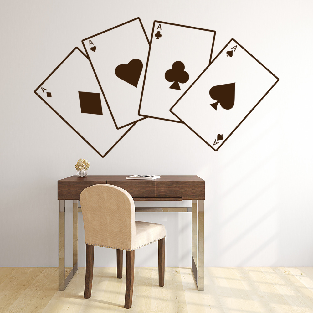 Aces Wall Sticker Card Games Poker Wall Decal Gambling Casino Home ...