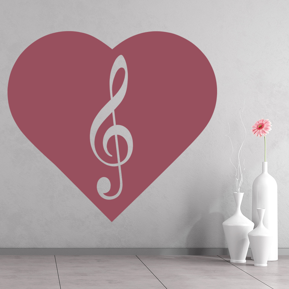Treble Clef Wall Sticker Love Heart Wall Decal Musical Notes Home ...