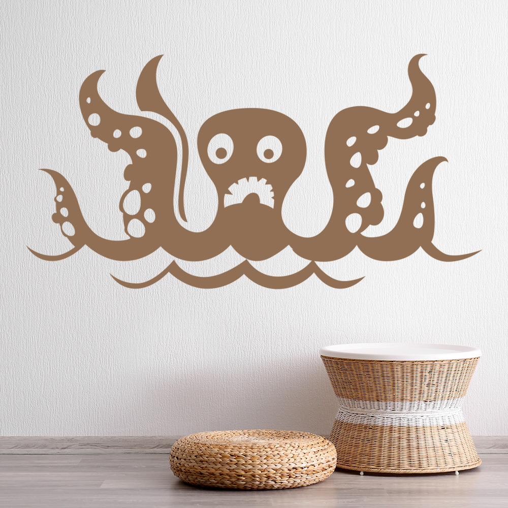 Funny Octopus Wall Sticker Childrens Wall Decal Bathroom Kids Home Decor