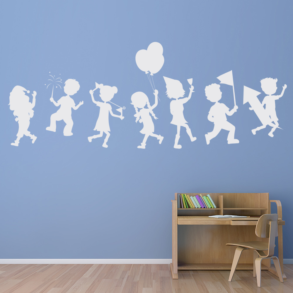 Childrens Party Silhouettes Educational Wall Sticker School - Educational wall decals