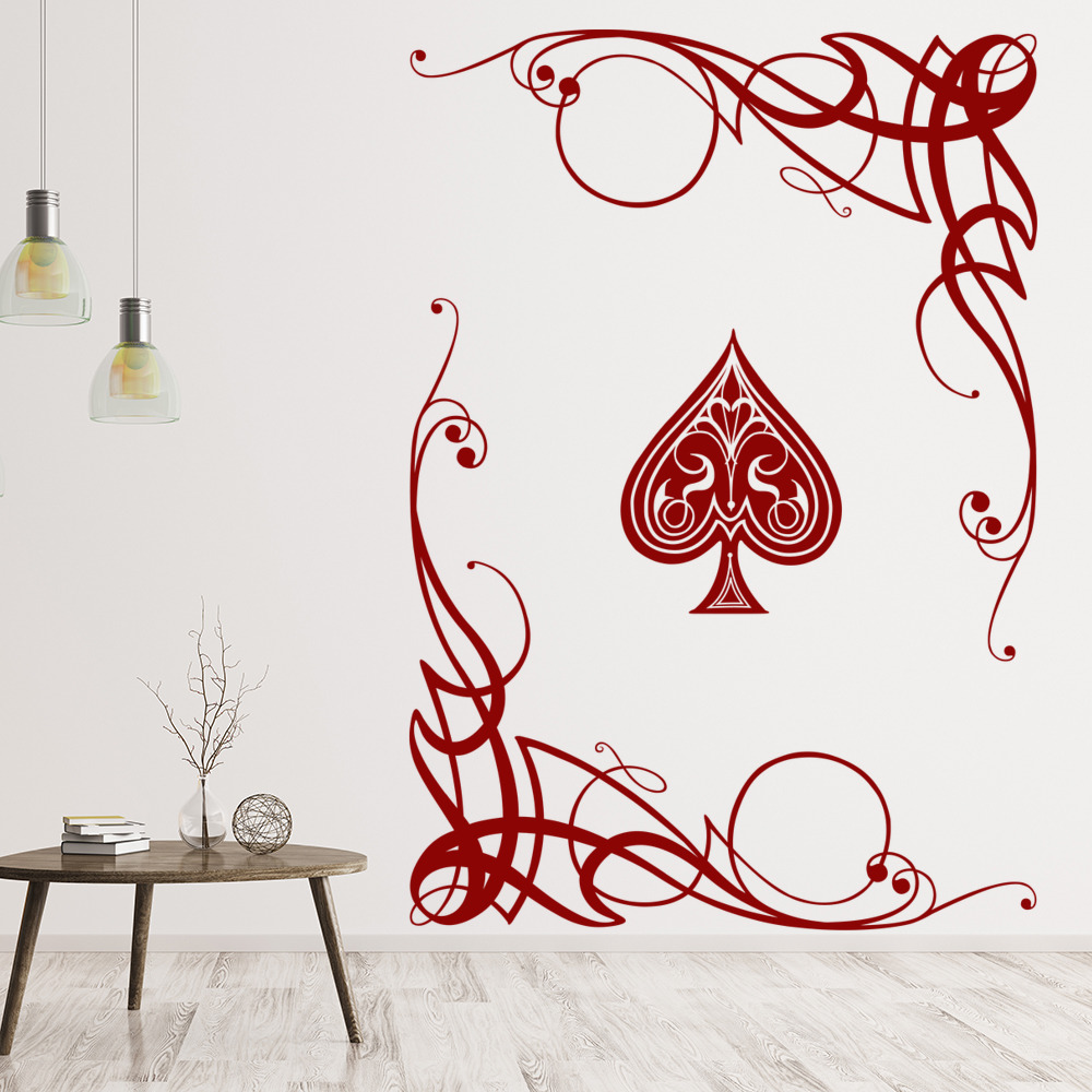 Swirl Ace Wall Sticker Card Games Poker Wall Decal Gambling Casino ...