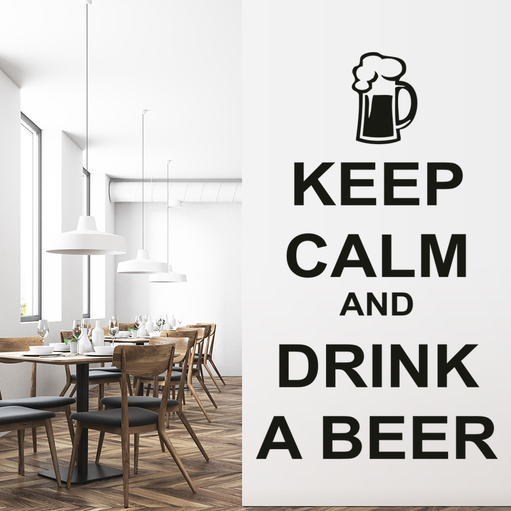 Keep Calm Wall Sticker Drink Beer Wall Decal Kitchen Bar Quotes Home ...